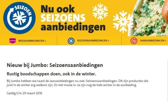Jumbo lanceert ook seizoensaanbiedingen