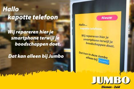 Jumbo repareert smartphone tijdens winkelen