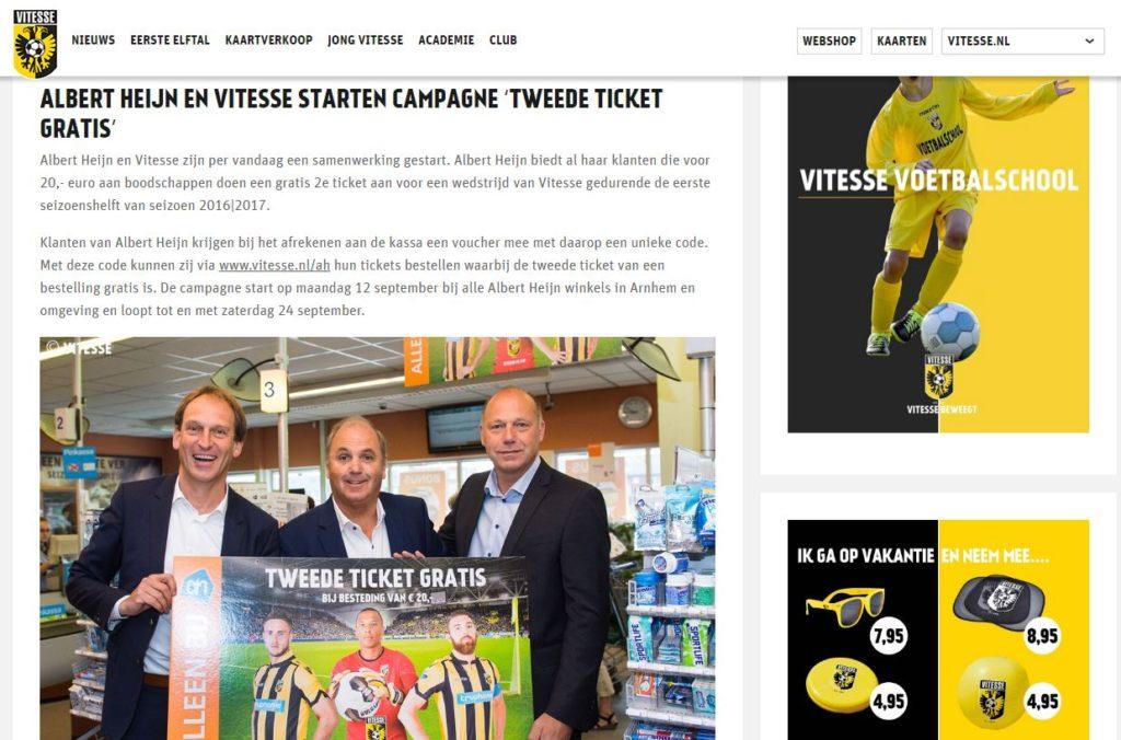 Vitesse kondigt de actie aan op zijn website
