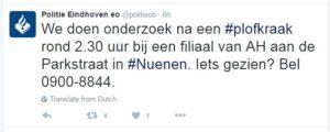 Politie meldt plofkraak op Twitter.