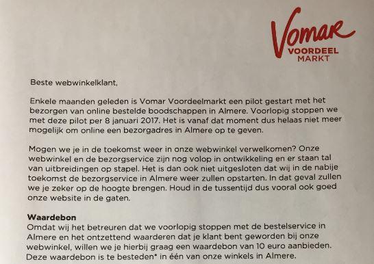 Vomar stopt in Almere online bezorgdienst