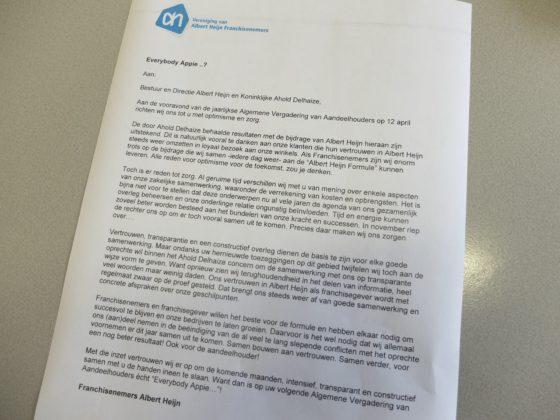 Franchisers sturen brandbrief naar AH