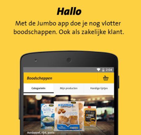 De nieuwe app van Jumbo is ook toegespitst op zakelijke klanten.
