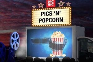 Picnic zet drive-in bioscoop op